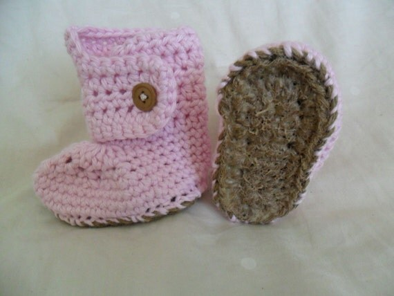 Made to Order Button Cuff Baby Booties with Jute and Rubber Soles - 100 Percent Cotton - 0-24 months - You Tell Me the Color