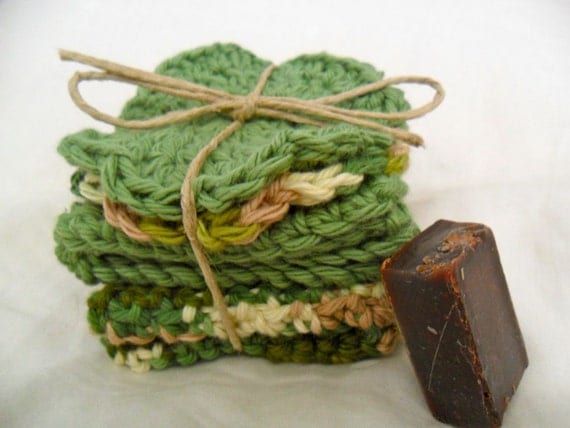 Crocheted Forest Camouflage and Sage Wash and Face Cloth Spa Set - SAMPLE soap included