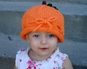Pumpkin knitted cotton hat. Perfect for fall or Halloween.  Ready to ship size 18mo-3T