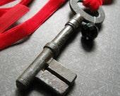 Huge Skeleton Key Vintage Red Velvet Tie Back Necklace, Castles in the Sky- Armory