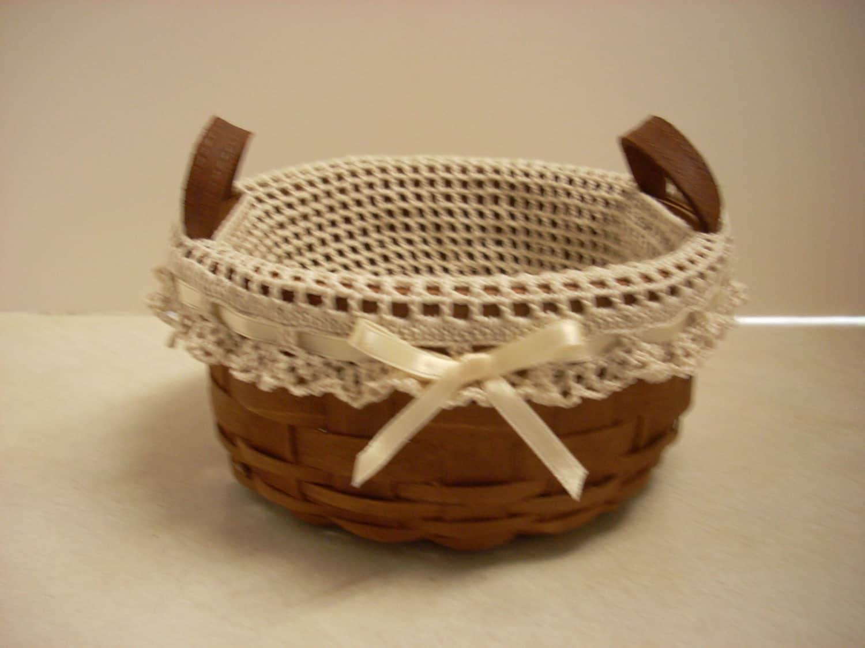 Handmade Longaberger Basket Liners : Crochet liner fits longaberger button basket