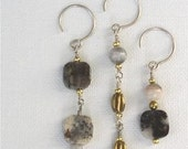 Gold and Picasso Gray Trio Earrings