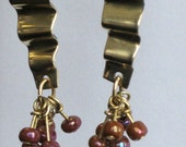Pleated Brass Dangle Earrings
