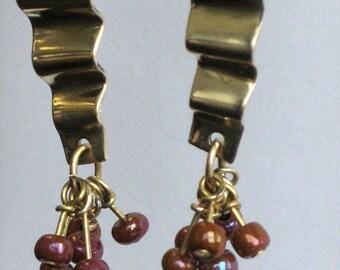 Pleated Brass Dangle Earrings