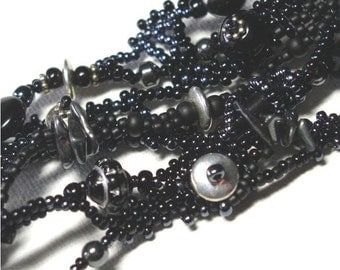 Bracelet Black and Silver Beaded Cuff