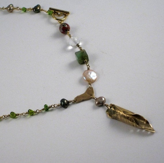 Asymmetric Necklace Cloisonne Beads Pearls