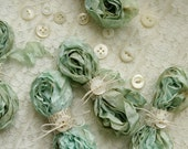 SPRING AQUA Cabbage Roses Ribbon