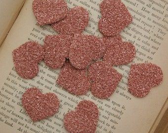 SIX Glass Glitter Hearts PINK