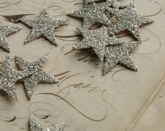 TWELVE Glass Glitter Stars S I L V E R