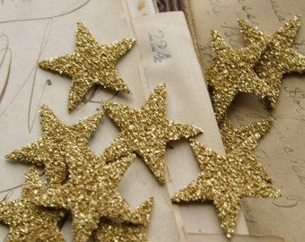 TWELVE Glass Glitter Stars G O L D