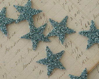 SIX Glass Glitter Stars  AQUA