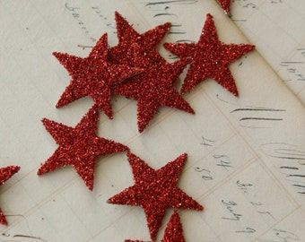 TWELVE Glass Glitter Stars R E D