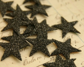 TWELVE German Glass Glitter Stars BLACK