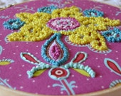"""Amy Butler"""" Soul Blossoms"""" French Knot Hand Embroidery Hoop Wall Art"""