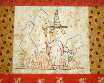 Witch Black Cat Halloween Hand Embroidery PDF Pattern Instant Download