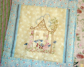 Cottage Flower House Quilt Banner Hand Embroidery PDF Pattern Instant Download