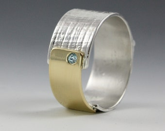 sterling silver and 18k gold papyrus ring with blue zircon