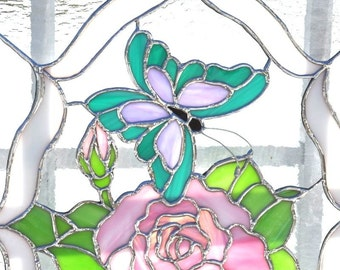 Rose pink-Butterfly  panel-stained glass-glass art-beveled glass