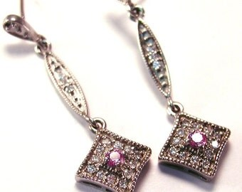 Gold 14 karat white -Pink Sapphire, Diamond- Elegant Dangle Earrings Antique Style