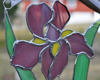 Iris -sun-catcher-panel-purple-glass art
