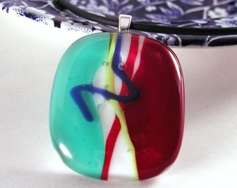Pendant -Handmade-fused glass- art