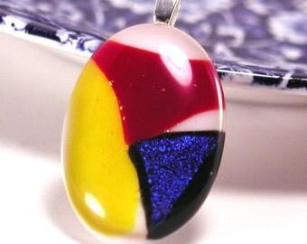 Fused glass art pendant