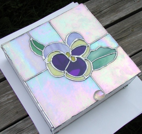 Original Design Pansy Flower Stained Glass Box