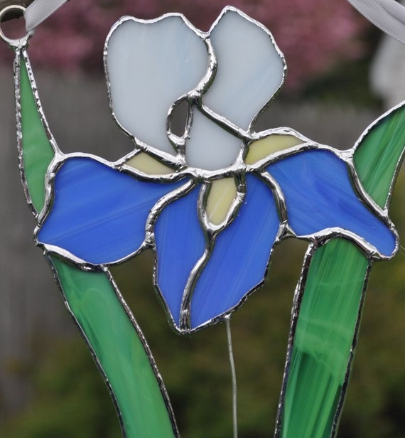 Iris blue and white suncatcher Panel