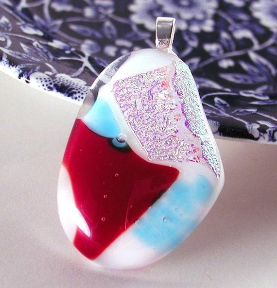Handmade fused glass art pendant necklace