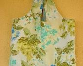Blue-Green Blooms Reusable Shopping Bag