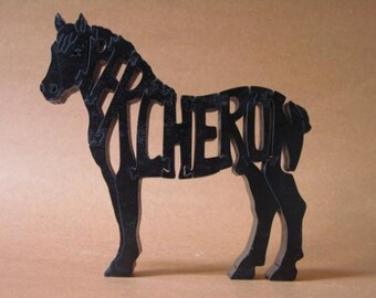 Percheron Draft Horse Puzzle Wooden Toy Hand Cut with Scroll Saw