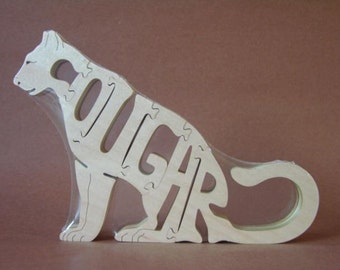 Cougar Wild Cat Wooden Animal Puzzle Toy  Hand Cut  with Scroll Saw