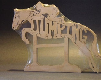 Jumping Jumper Horse with Rider Puzzle Wooden Toy Hand Cut with Scroll Saw