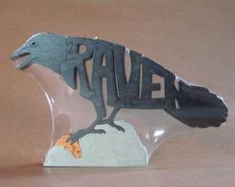 Raven Bird Animal Puzzle Wooden Toy Hand  Cut with Scroll Saw