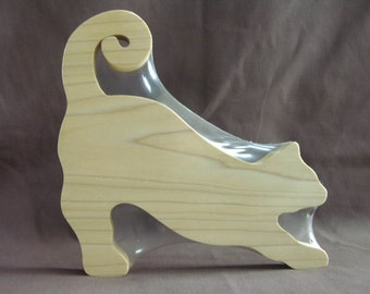 Stretching Cat Cheese Board Cutting Board Solid Wood Adorable