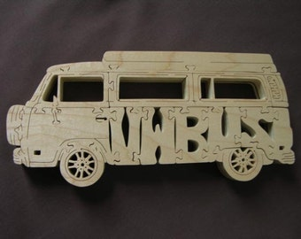 Vintage VW Bus Volkswagen Van Puzzle Wooden Toy Hand Cut with Scroll Saw