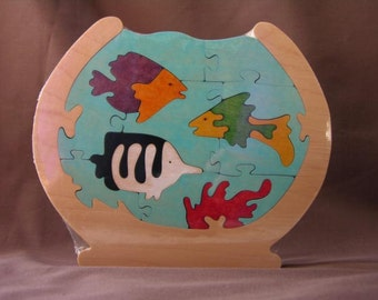 Life in a Fish Bowl Colorful Wood Puzzle Toy Hand Cut with Scroll Saw