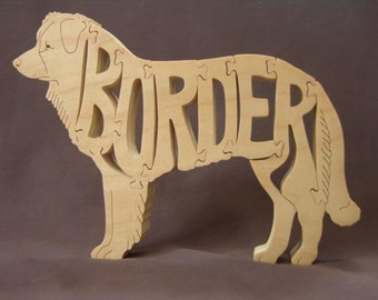 Border Collie Dog Puzzle Wooden Toy Hand Cut with Scroll Saw