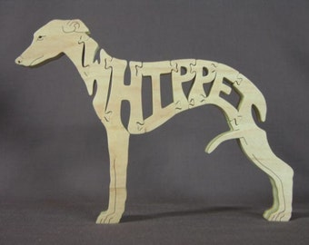 Whippet Dog Puzzle Wooden Toy Hand Cut with Scroll Saw