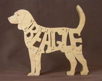 Beagle Dog Puzzle Wooden Toy Hand Cut with Scroll Saw