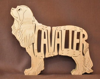 Cavalier Spaniel Dog Puzzle Wooden Toy Hand Cut with Scroll Saw
