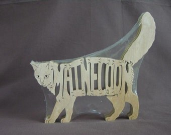Maine Coon Cat Feline Wooden Animal Puzzle Toy Hand Cut  with Scroll Saw