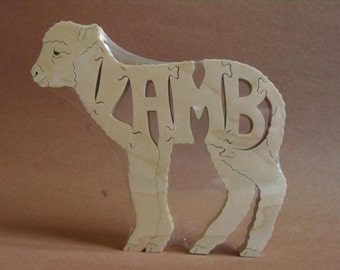 Adorable Baby Lamb or Sheep Choice Animal Puzzle Wooden Toy Hand  Cut with Scroll Saw