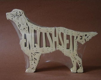 English Setter Dog Puzzle Wooden Toy Hand Cut with Scroll Saw