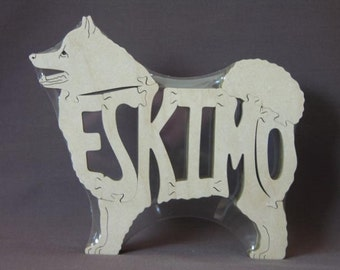 American Eskimo Dog Puzzle Wooden Toy Hand Cut with Scroll Saw
