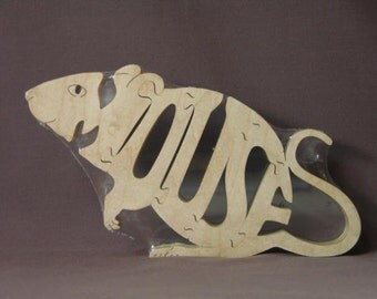 Mouse Wooden Animal Puzzle Toy  Hand Cut  with Scroll Saw