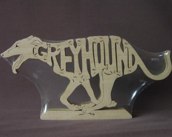 Greyhound Running Wooden Dog Puzzle Made Scroll Saw Toy