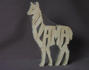 Llama Animal Puzzle Wooden Toy Hand  Cut with Scroll Saw