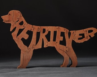Golden Retriever Dog Puzzle Wooden Toy Hand Cut with Scroll Saw