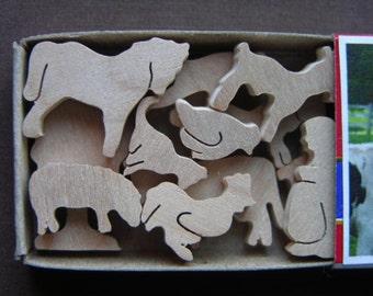 Miniature Farm Animal Wood Match Box Set